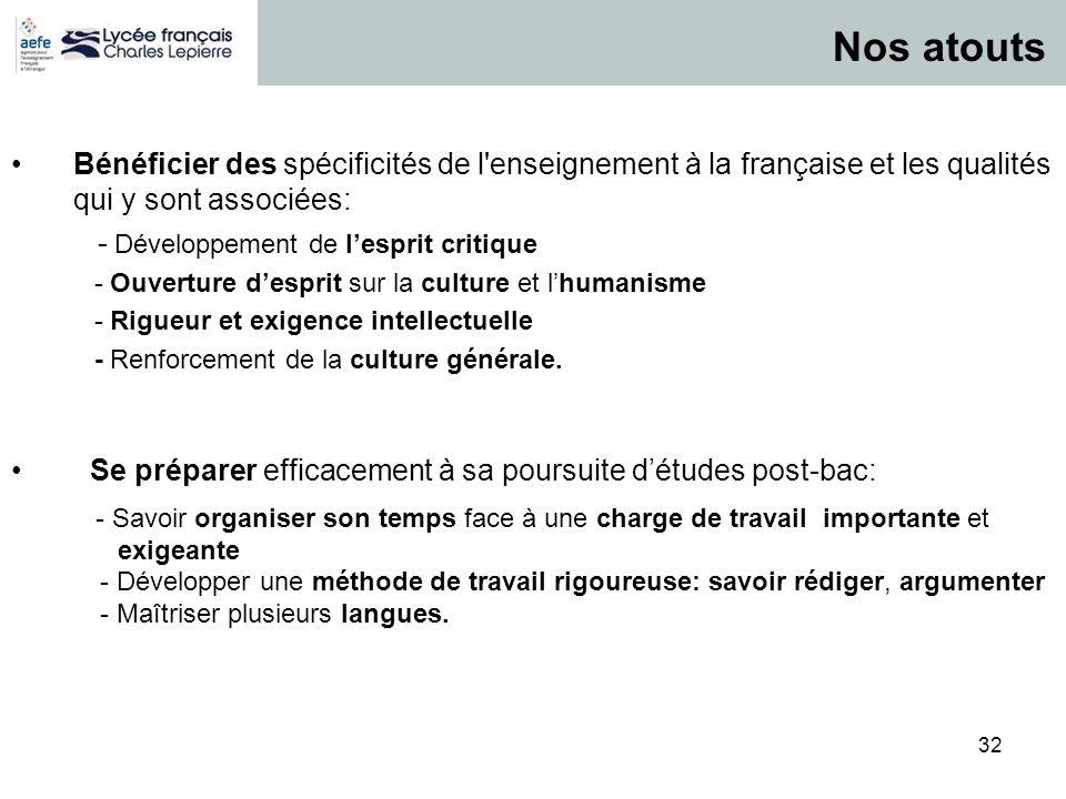 32 P / 32 Bénéficier des spécificités de l'enseignement à la française et les qualités qui y sont associées: - Développement de lesprit critique - Ouv