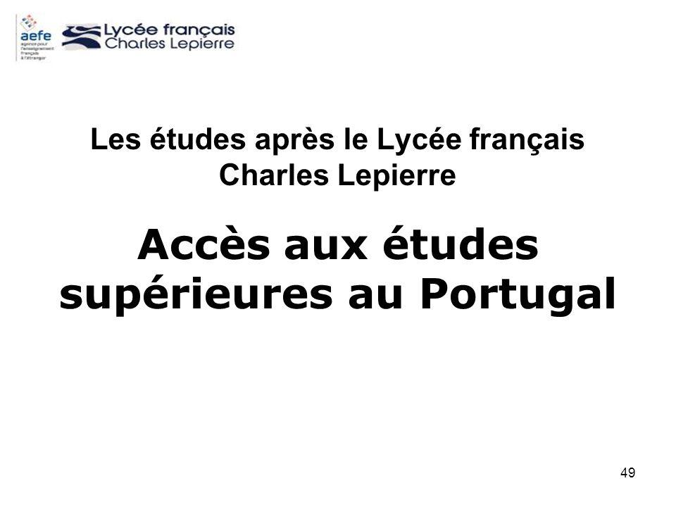 49 Les études après le Lycée français Charles Lepierre Accès aux études supérieures au Portugal