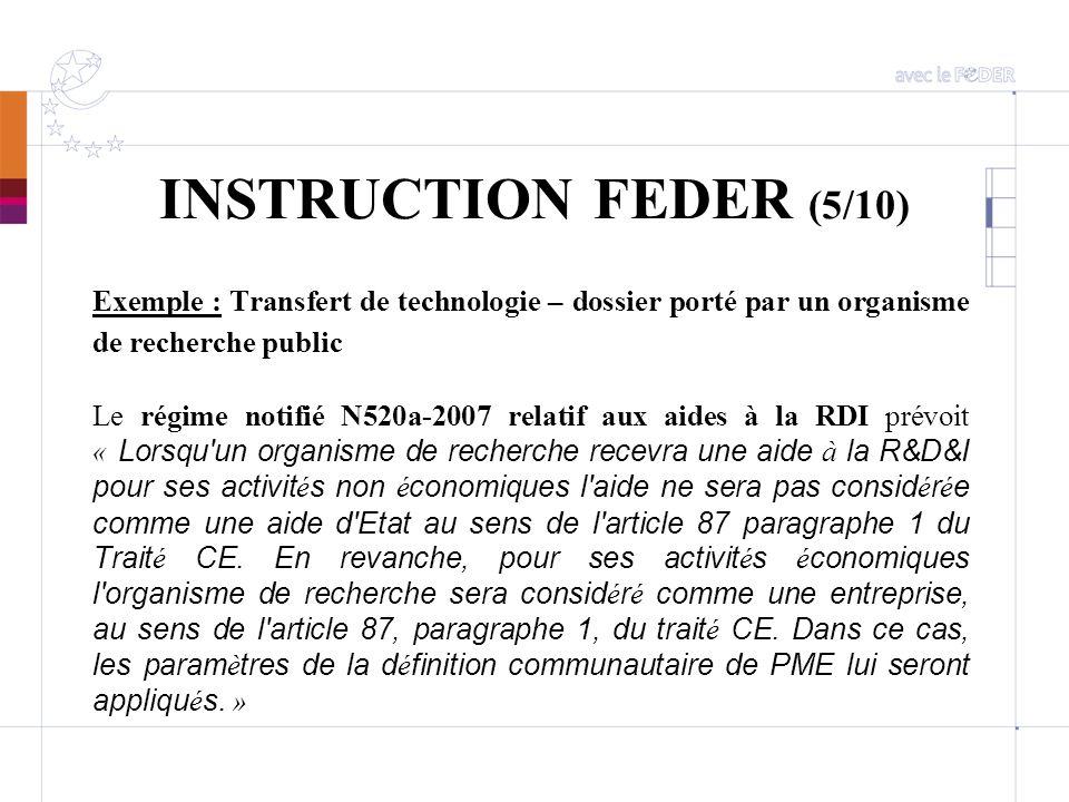 INSTRUCTION FEDER (5/10) Exemple : Transfert de technologie – dossier porté par un organisme de recherche public Le régime notifié N520a-2007 relatif