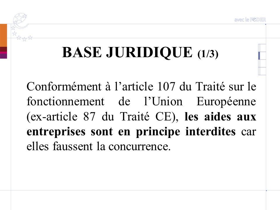 BASE JURIDIQUE (1/3) Conformément à larticle 107 du Traité sur le fonctionnement de lUnion Européenne (ex-article 87 du Traité CE), les aides aux entr