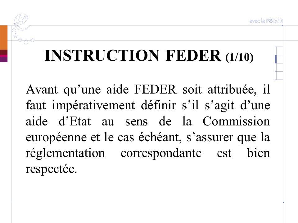 INSTRUCTION FEDER (1/10) Avant quune aide FEDER soit attribuée, il faut impérativement définir sil sagit dune aide dEtat au sens de la Commission euro