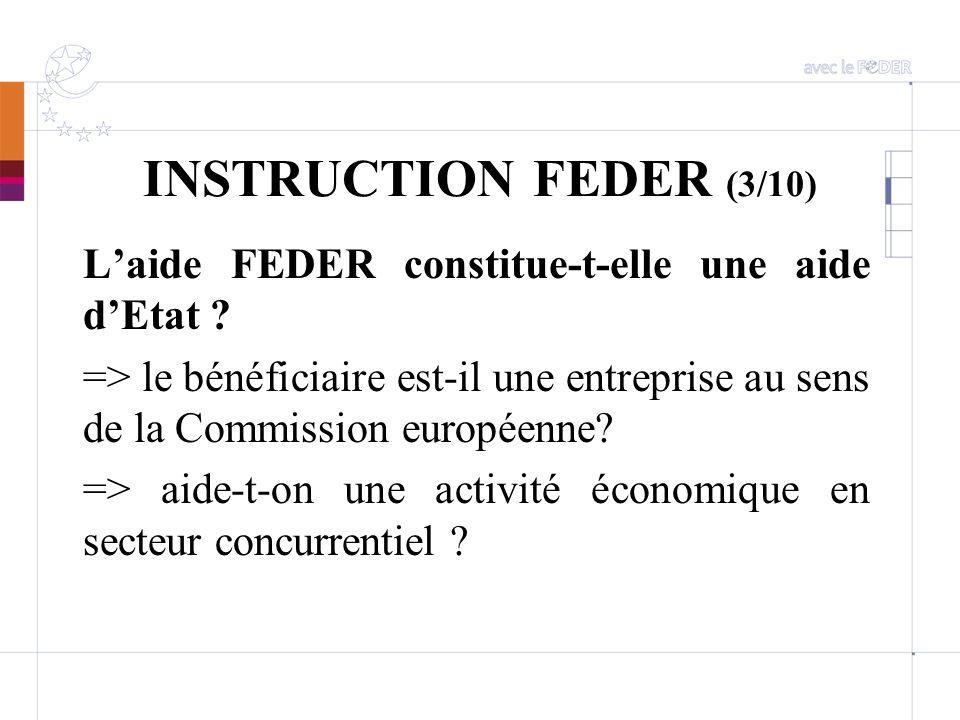 INSTRUCTION FEDER (3/10) Laide FEDER constitue-t-elle une aide dEtat ? => le bénéficiaire est-il une entreprise au sens de la Commission européenne? =