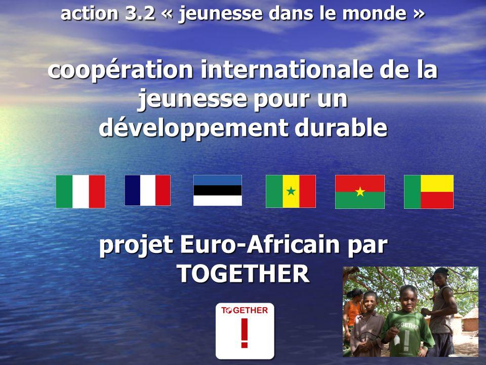 formation au développement durable et visites d études à Cotonou au Bénin les deux premières semaines dAvril 2011 Participants: 3 jeunes de 18 à 25 ans choisis au sein des groupes de projets locaux de chaque pays participant.