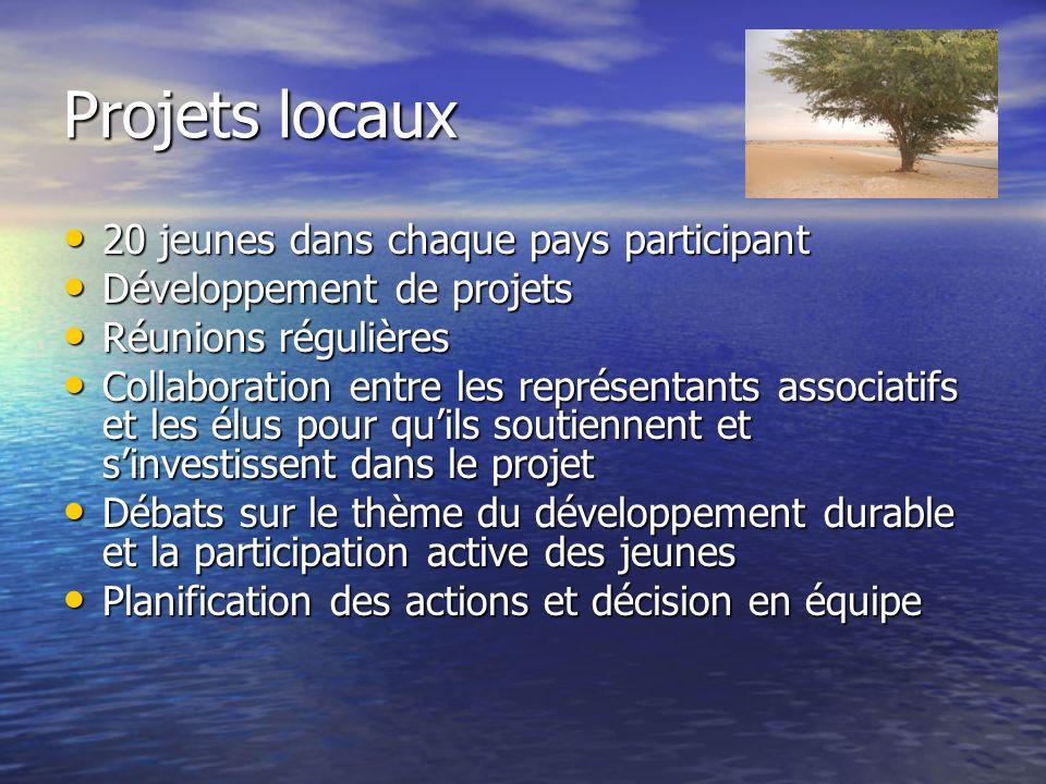 Projets locaux 20 jeunes dans chaque pays participant 20 jeunes dans chaque pays participant Développement de projets Développement de projets Réunion