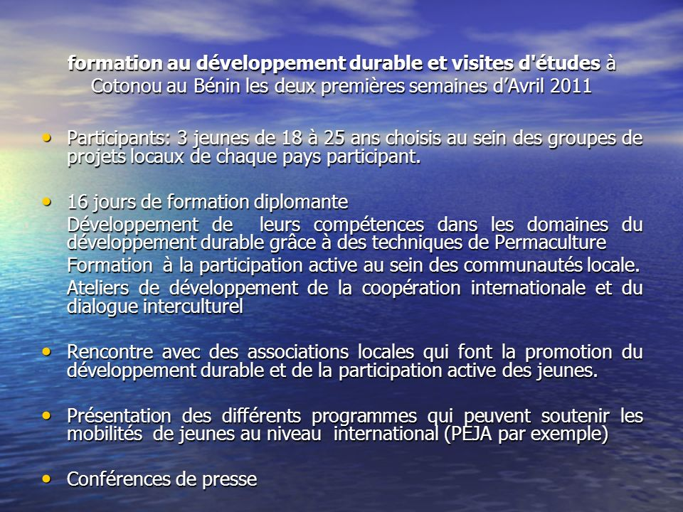 formation au développement durable et visites d'études à Cotonou au Bénin les deux premières semaines dAvril 2011 Participants: 3 jeunes de 18 à 25 an