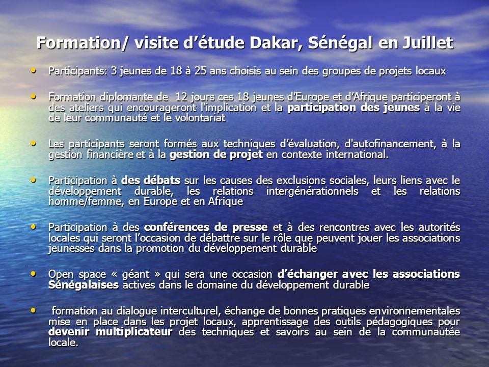 Formation/ visite détude Dakar, Sénégal en Juillet Participants: 3 jeunes de 18 à 25 ans choisis au sein des groupes de projets locaux Participants: 3