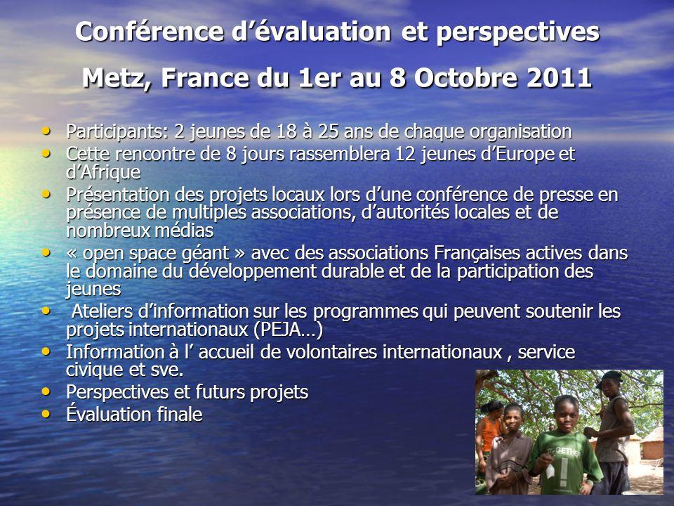 Conférence dévaluation et perspectives Metz, France du 1er au 8 Octobre 2011 Participants: 2 jeunes de 18 à 25 ans de chaque organisation Participants