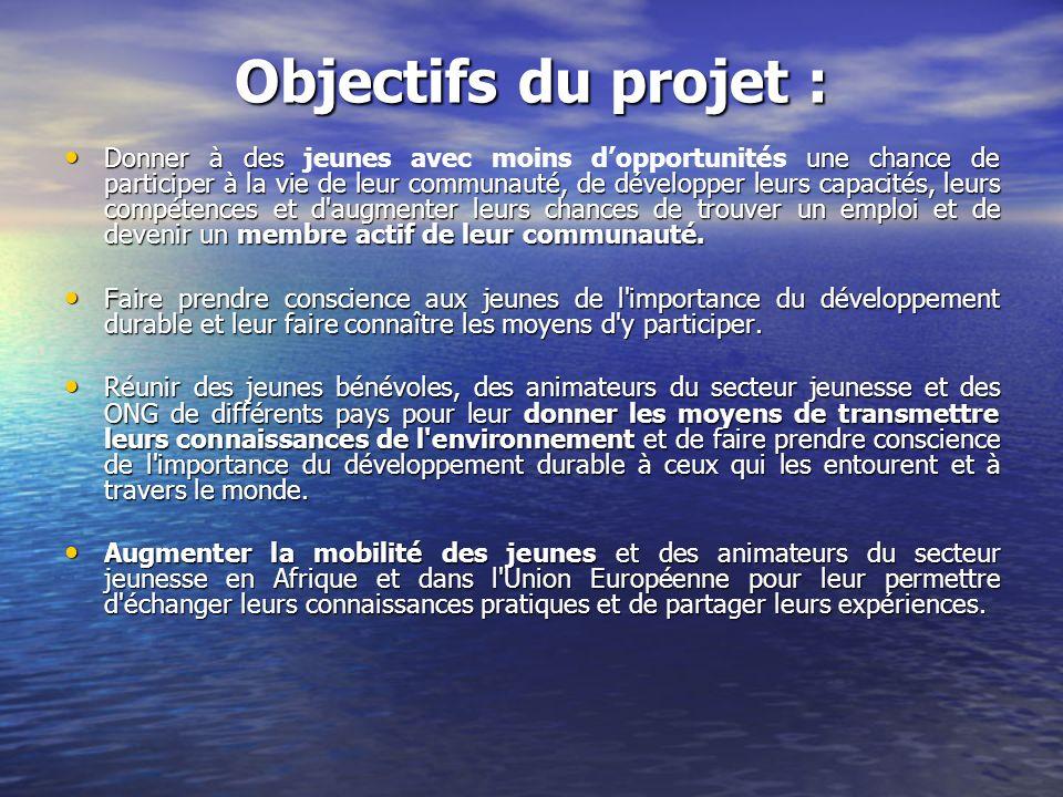 Objectifs du projet : Donner à des une chance de participer à la vie de leur communauté, de développer leurs capacités, leurs compétences et d'augment