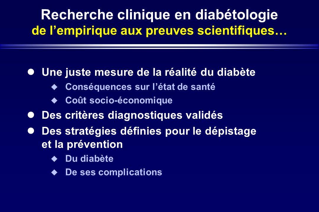 Recherche clinique en diabétologie de lempirique aux preuves scientifiques… Une juste mesure de la réalité du diabète Conséquences sur létat de santé