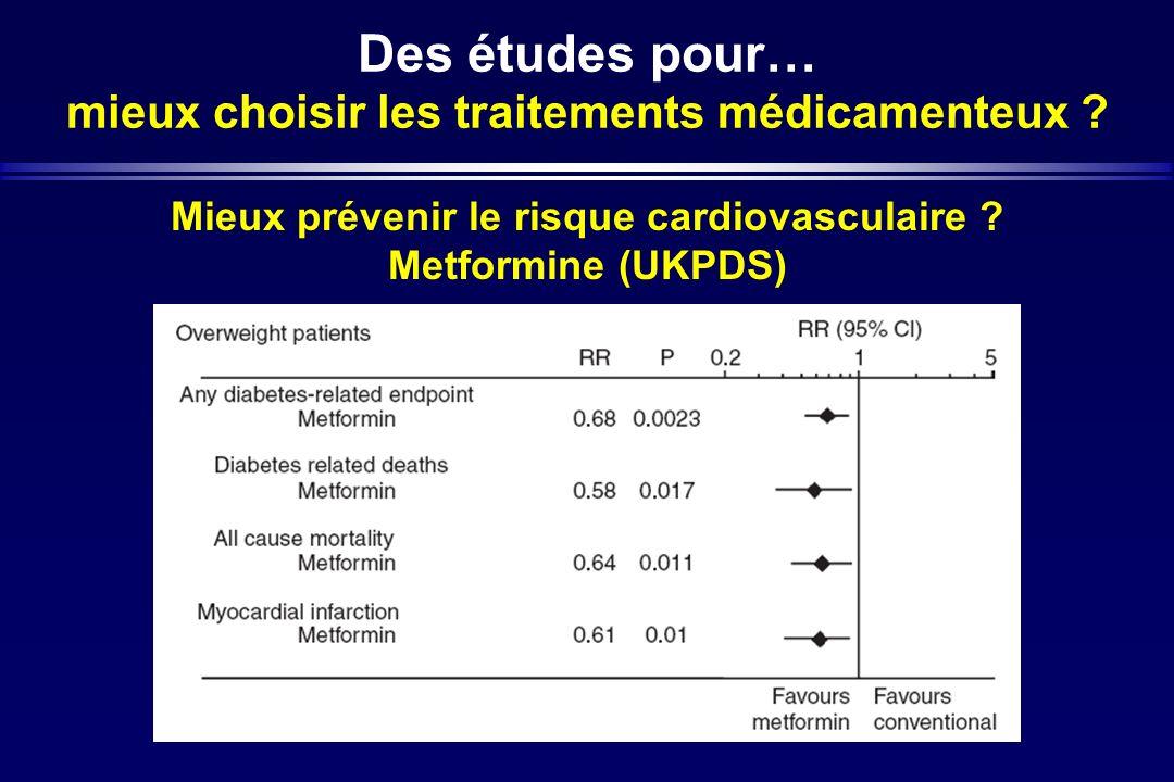 Des études pour… mieux choisir les traitements médicamenteux ? Mieux prévenir le risque cardiovasculaire ? Metformine (UKPDS)