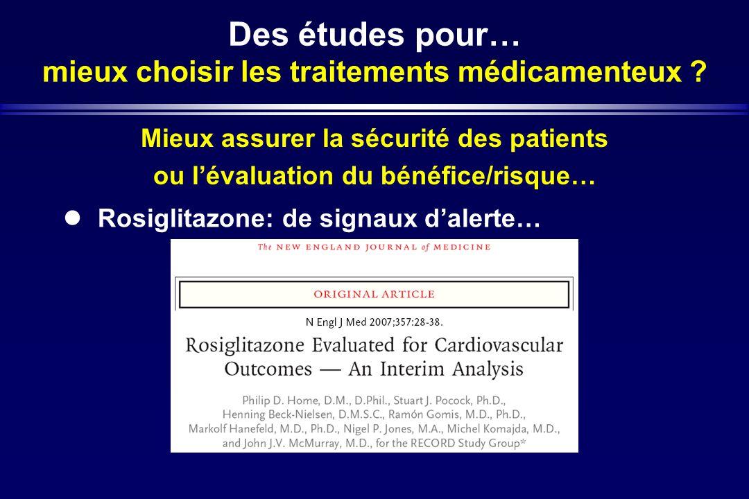 Des études pour… mieux choisir les traitements médicamenteux ? Mieux assurer la sécurité des patients ou lévaluation du bénéfice/risque… Rosiglitazone