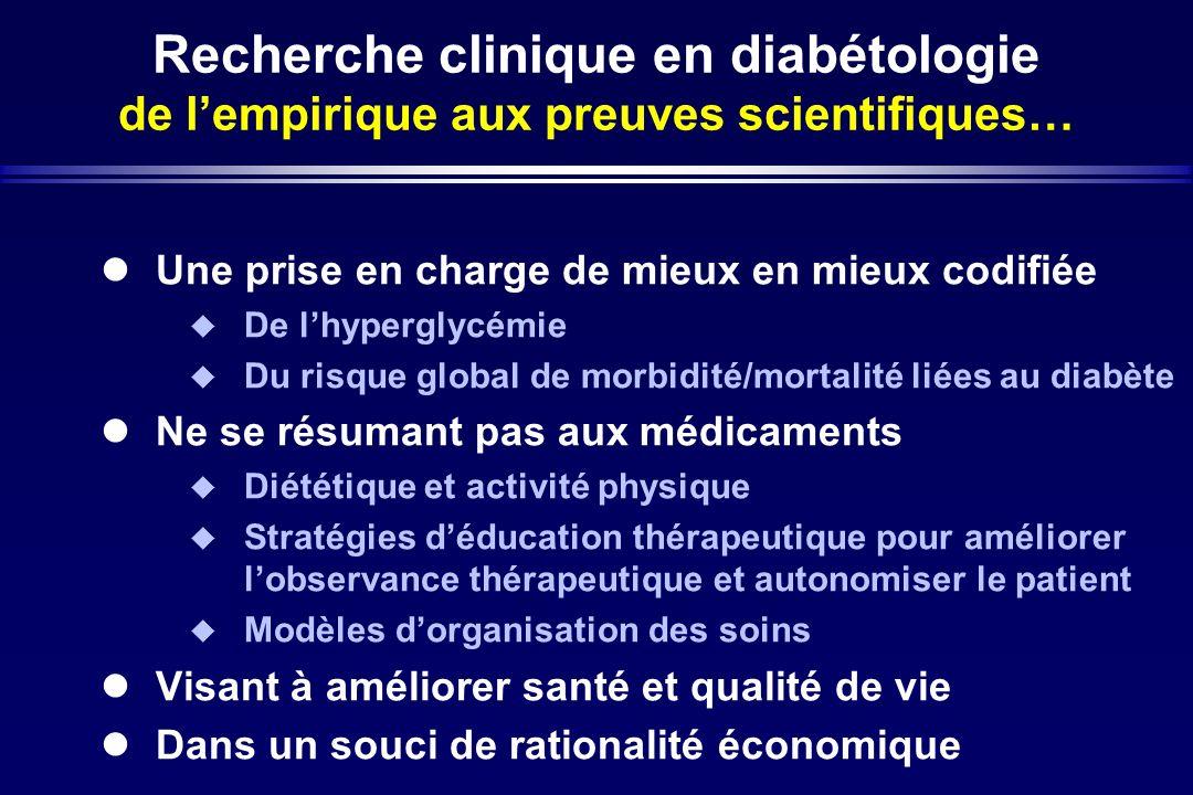 Recherche clinique en diabétologie de lempirique aux preuves scientifiques… Une prise en charge de mieux en mieux codifiée De lhyperglycémie Du risque