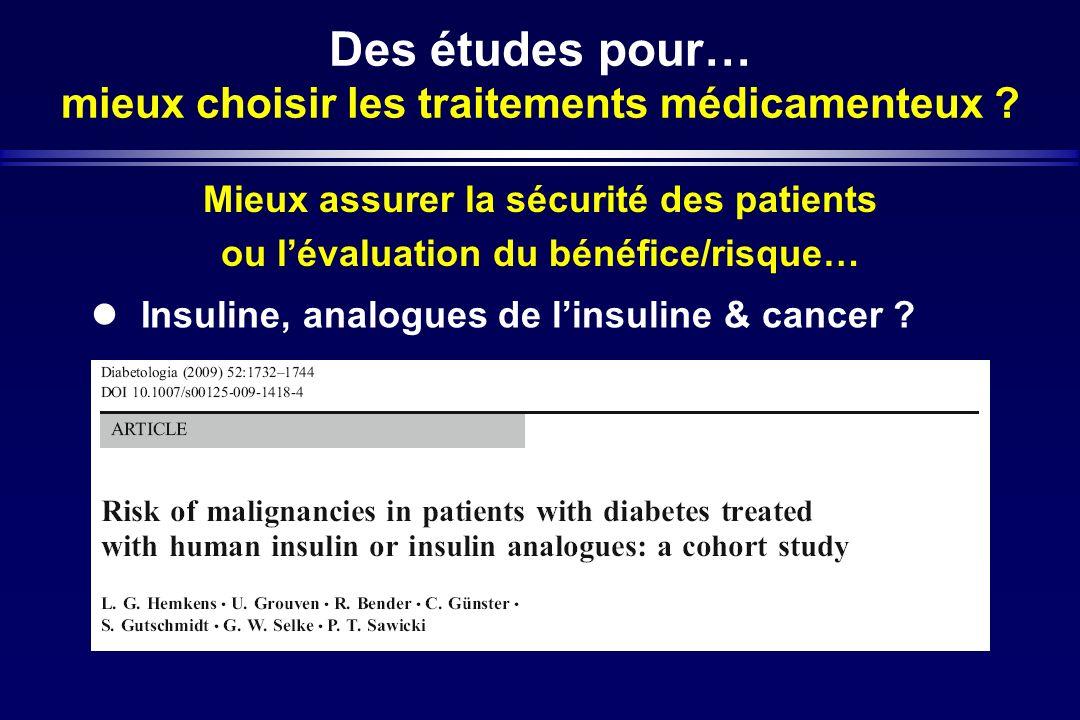 Des études pour… mieux choisir les traitements médicamenteux ? Mieux assurer la sécurité des patients ou lévaluation du bénéfice/risque… Insuline, ana