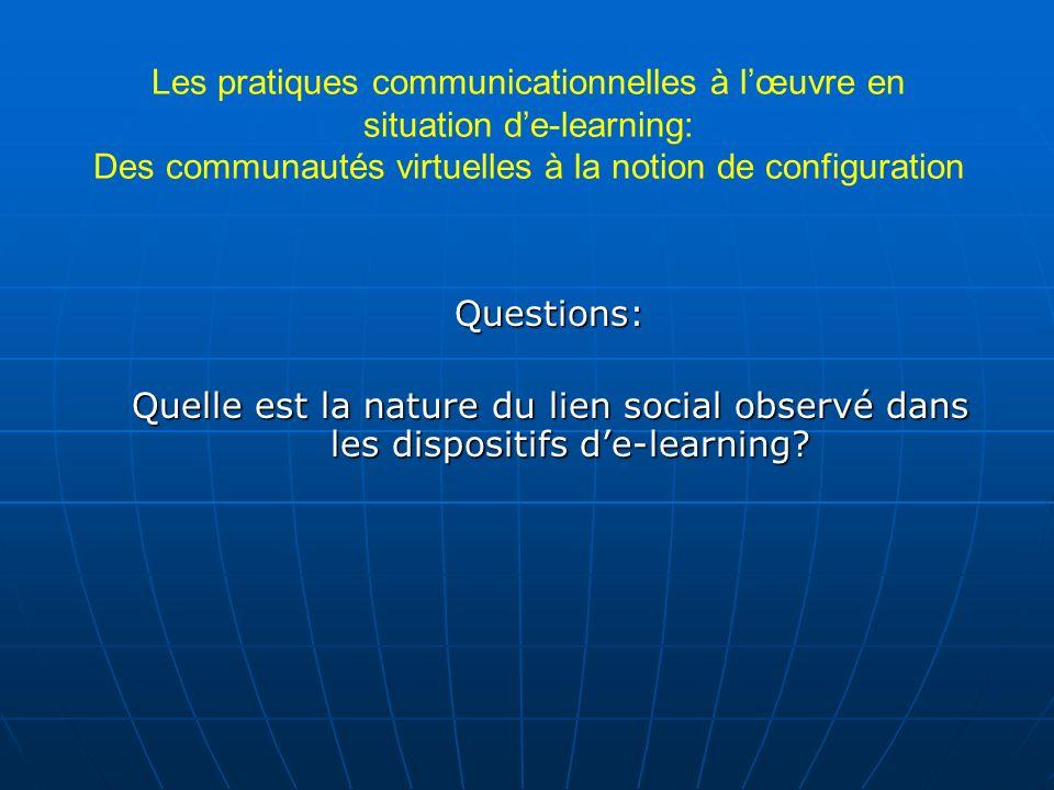 Les pratiques communicationnelles à lœuvre en situation de-learning: Des communautés virtuelles à la notion de configuration Questions: Quelle est la