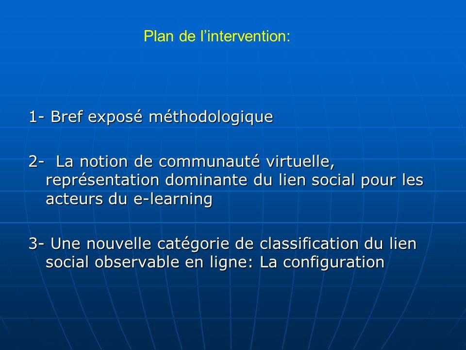 Plan de lintervention: 1- Bref exposé méthodologique 2- La notion de communauté virtuelle, représentation dominante du lien social pour les acteurs du