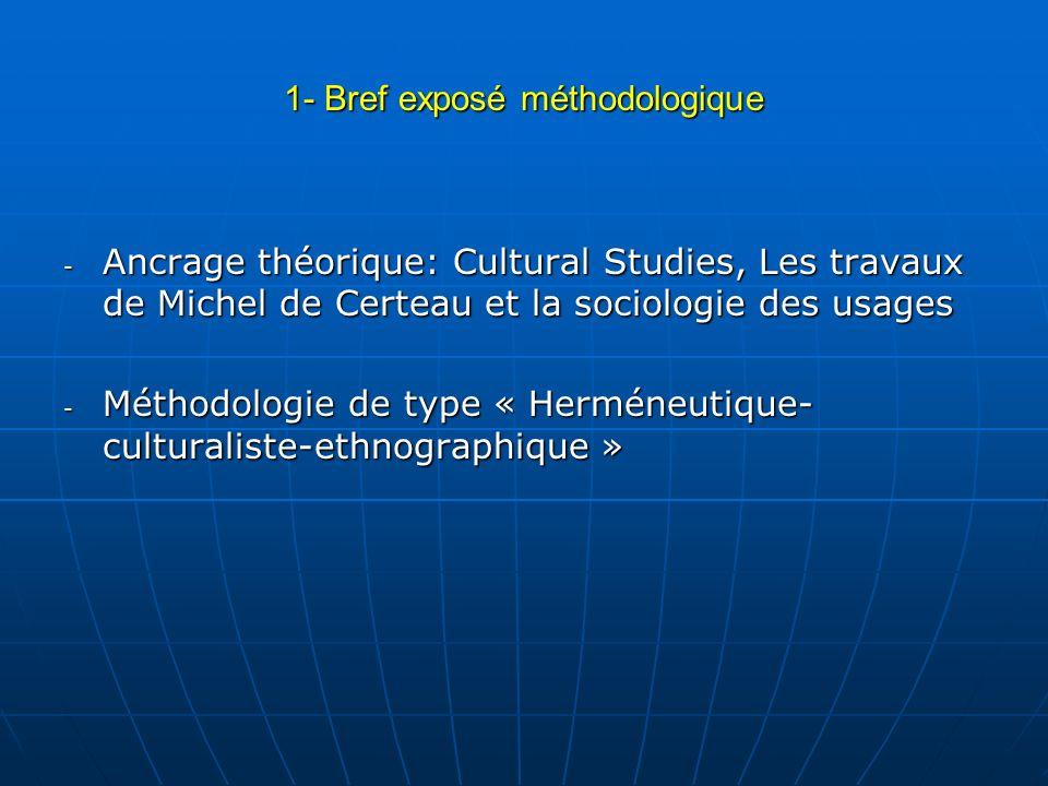 1- Bref exposé méthodologique - Ancrage théorique: Cultural Studies, Les travaux de Michel de Certeau et la sociologie des usages - Méthodologie de ty