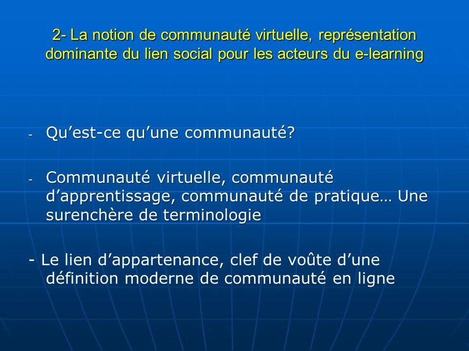 2- La notion de communauté virtuelle, représentation dominante du lien social pour les acteurs du e-learning - Quest-ce quune communauté? - Communauté