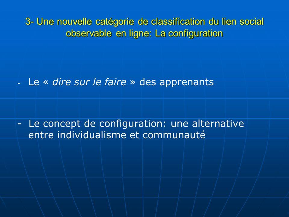 3- Une nouvelle catégorie de classification du lien social observable en ligne: La configuration - - Le « dire sur le faire » des apprenants - Le conc