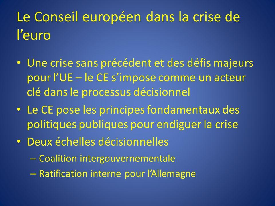 Le Conseil européen dans la crise de leuro Une crise sans précédent et des défis majeurs pour lUE – le CE simpose comme un acteur clé dans le processu