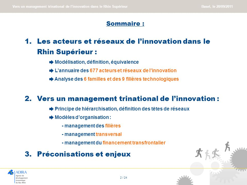 Vers un management trinational de linnovation dans le Rhin Supérieur Basel, le 20/09/2011 2 / 24 Sommaire : 1.Les acteurs et réseaux de linnovation da