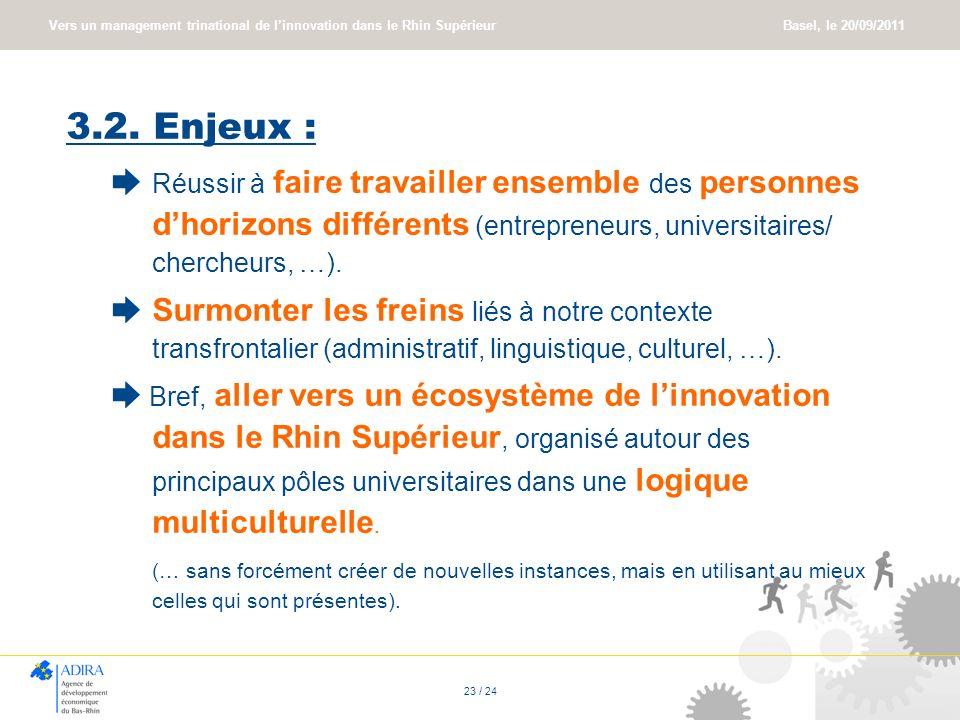Vers un management trinational de linnovation dans le Rhin Supérieur Basel, le 20/09/2011 23 / 24 3.2. Enjeux : Réussir à faire travailler ensemble de
