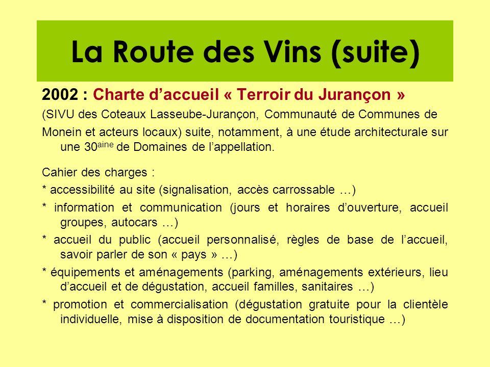 La Route des Vins (suite) 2002 : Charte daccueil « Terroir du Jurançon » (SIVU des Coteaux Lasseube-Jurançon, Communauté de Communes de Monein et acte