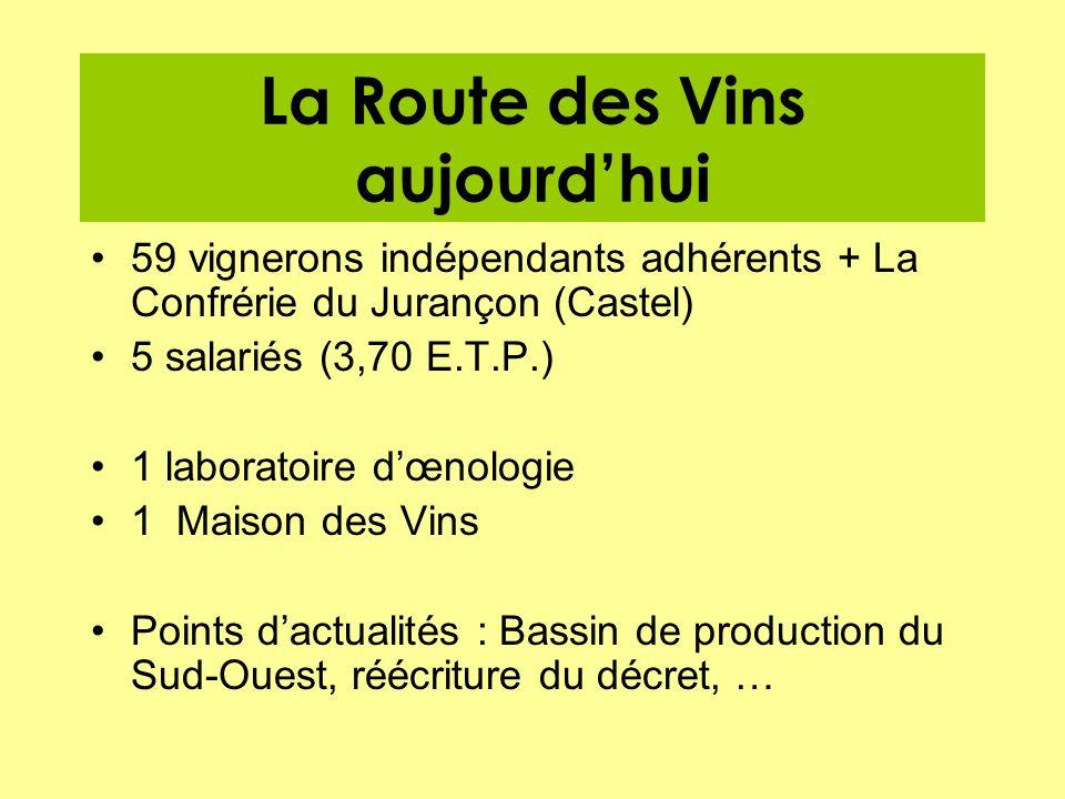 La Route des Vins aujourdhui 59 vignerons indépendants adhérents + La Confrérie du Jurançon (Castel) 5 salariés (3,70 E.T.P.) 1 laboratoire dœnologie