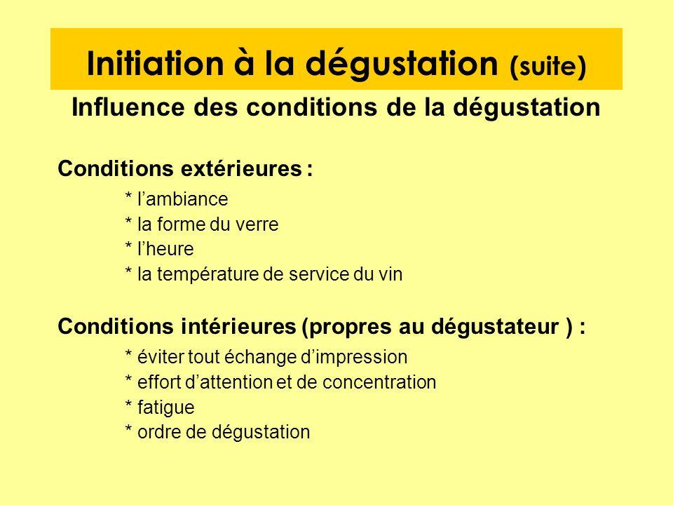 Initiation à la dégustation (suite) Influence des conditions de la dégustation Conditions extérieures : * lambiance * la forme du verre * lheure * la