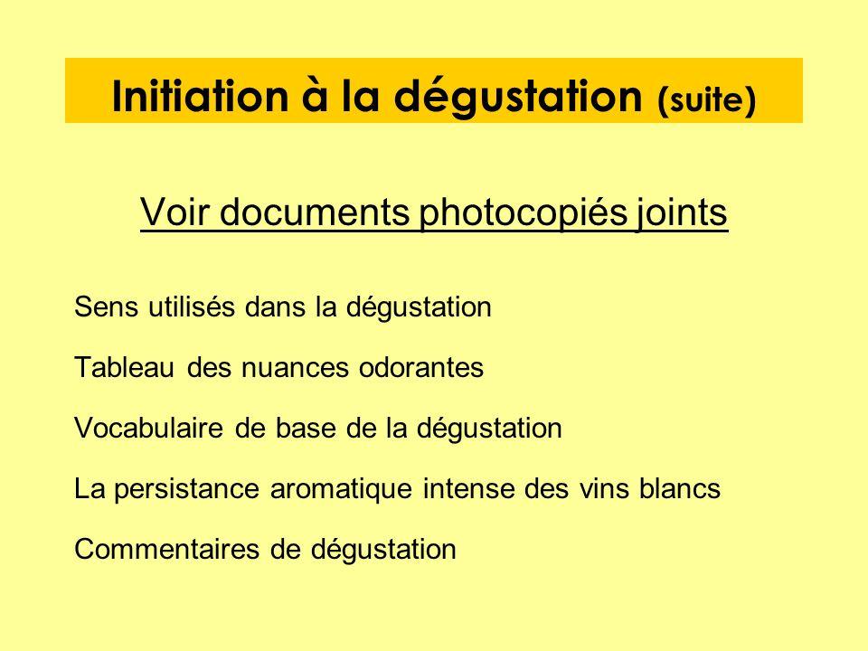 Initiation à la dégustation (suite) Voir documents photocopiés joints Sens utilisés dans la dégustation Tableau des nuances odorantes Vocabulaire de b