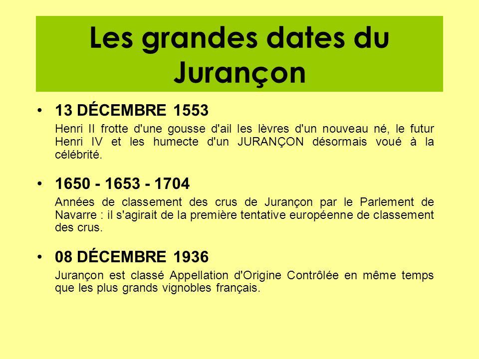 Les grandes dates du Jurançon 13 DÉCEMBRE 1553 Henri II frotte d'une gousse d'ail les lèvres d'un nouveau né, le futur Henri IV et les humecte d'un JU