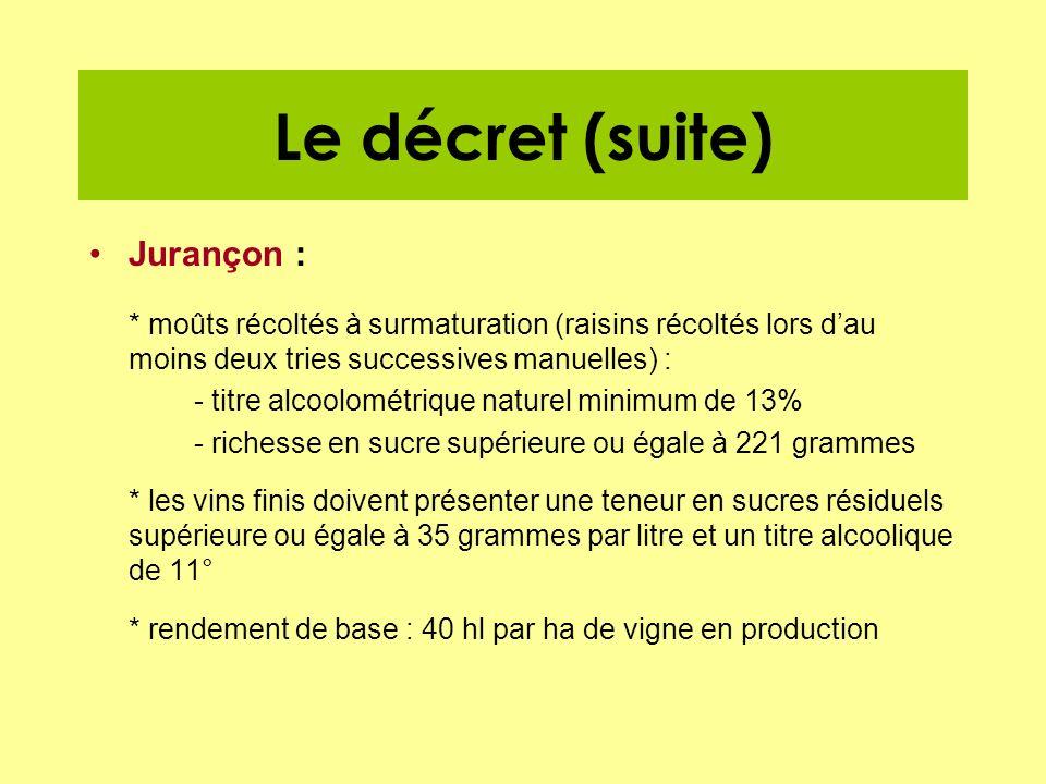 Le décret (suite) Jurançon : * moûts récoltés à surmaturation (raisins récoltés lors dau moins deux tries successives manuelles) : - titre alcoolométr