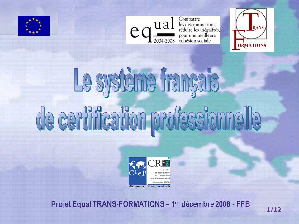 1/12 Projet Equal TRANS-FORMATIONS – 1 er décembre 2006 - FFB Ministère de lEducation nationale