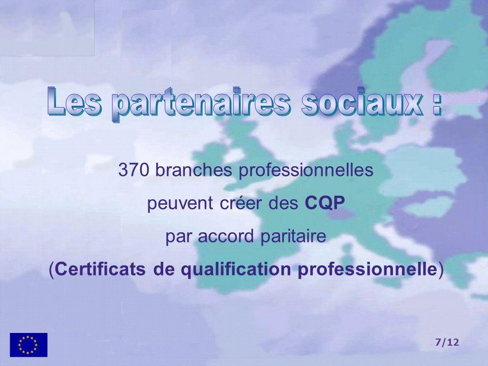 7/12 370 branches professionnelles peuvent créer des CQP par accord paritaire (Certificats de qualification professionnelle)