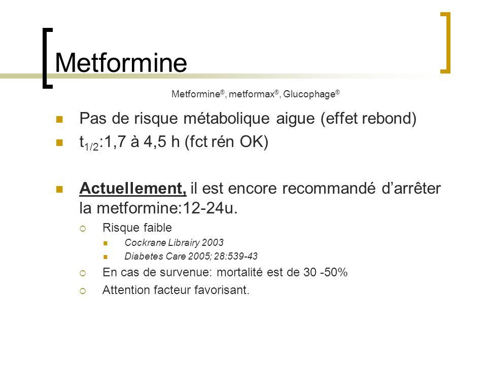 Metformine Pas de risque métabolique aigue (effet rebond) t 1/2 :1,7 à 4,5 h (fct rén OK) Actuellement, il est encore recommandé darrêter la metformin