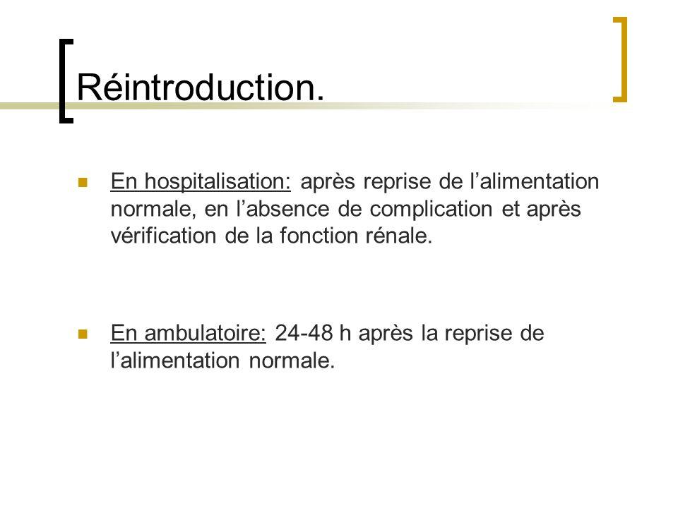 Réintroduction. En hospitalisation: après reprise de lalimentation normale, en labsence de complication et après vérification de la fonction rénale. E