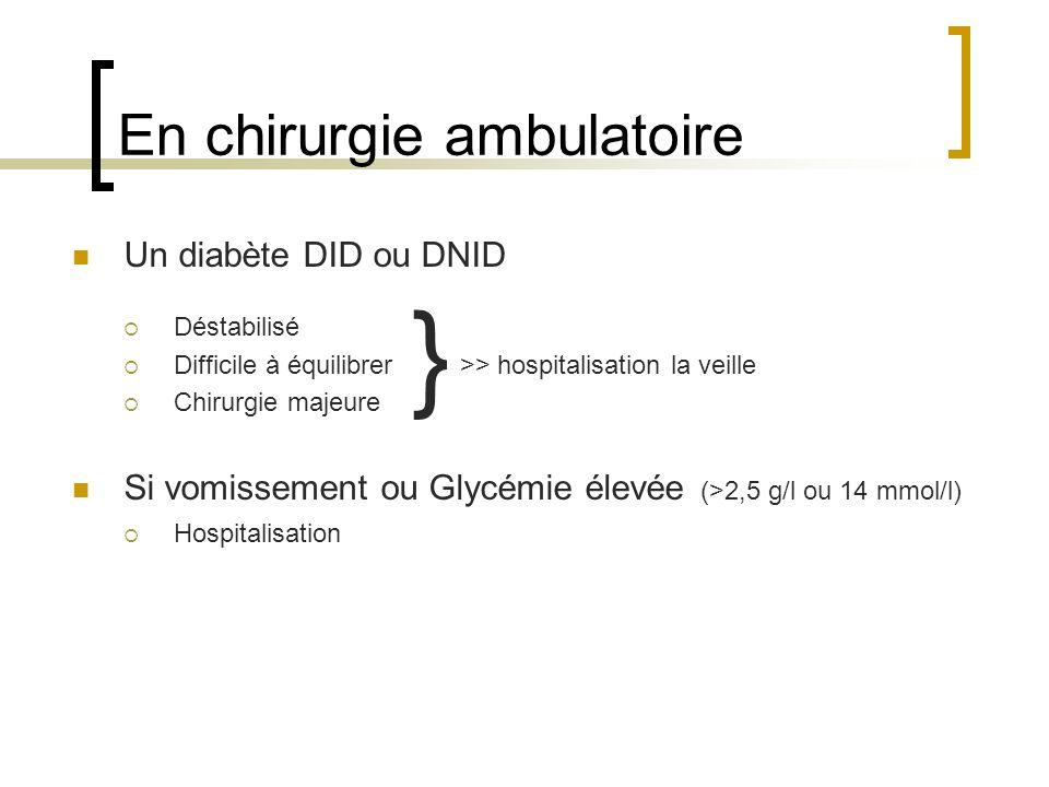 En chirurgie ambulatoire Un diabète DID ou DNID Déstabilisé Difficile à équilibrer Chirurgie majeure Si vomissement ou Glycémie élevée (>2,5 g/l ou 14