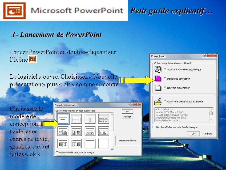 Lancer PowerPoint en double-cliquant sur licône. Le logiciel souvre. Choisissez « Nouvelle présentation » puis « ok » comme ci-contre Choisissez le mo