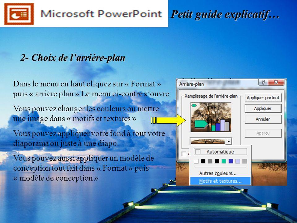 Dans le menu en haut cliquez sur « Format » puis « arrière plan » Le menu ci-contre souvre. Vous pouvez changer les couleurs ou mettre une image dans