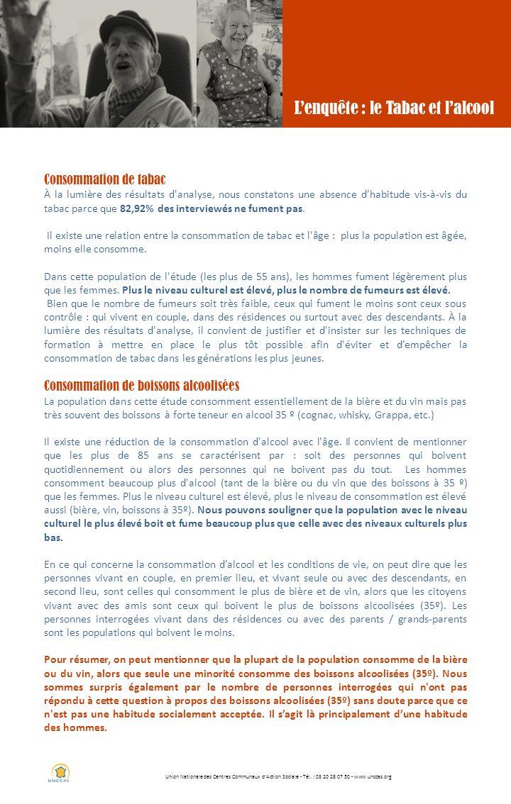 Union Nationale des Centres Communaux dAction Sociale - Tél. : 03 20 28 07 50 - www.unccas.org Lenquête : le Tabac et lalcool Consommation de tabac À