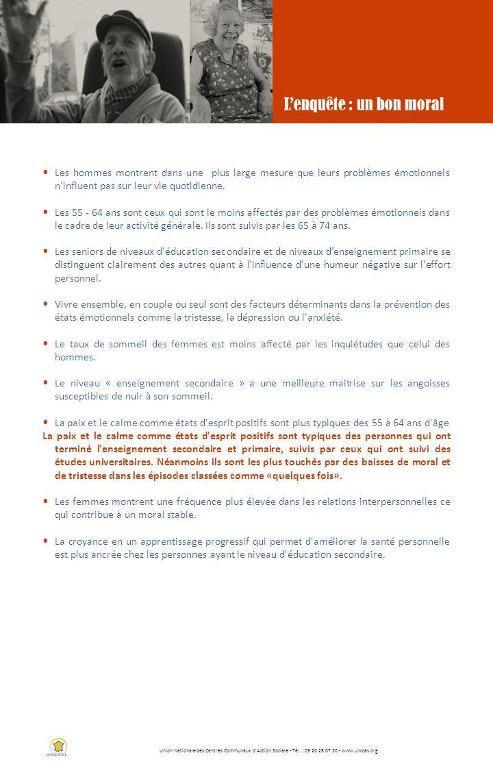 Union Nationale des Centres Communaux dAction Sociale - Tél. : 03 20 28 07 50 - www.unccas.org Lenquête : un bon moral Les hommes montrent dans une pl
