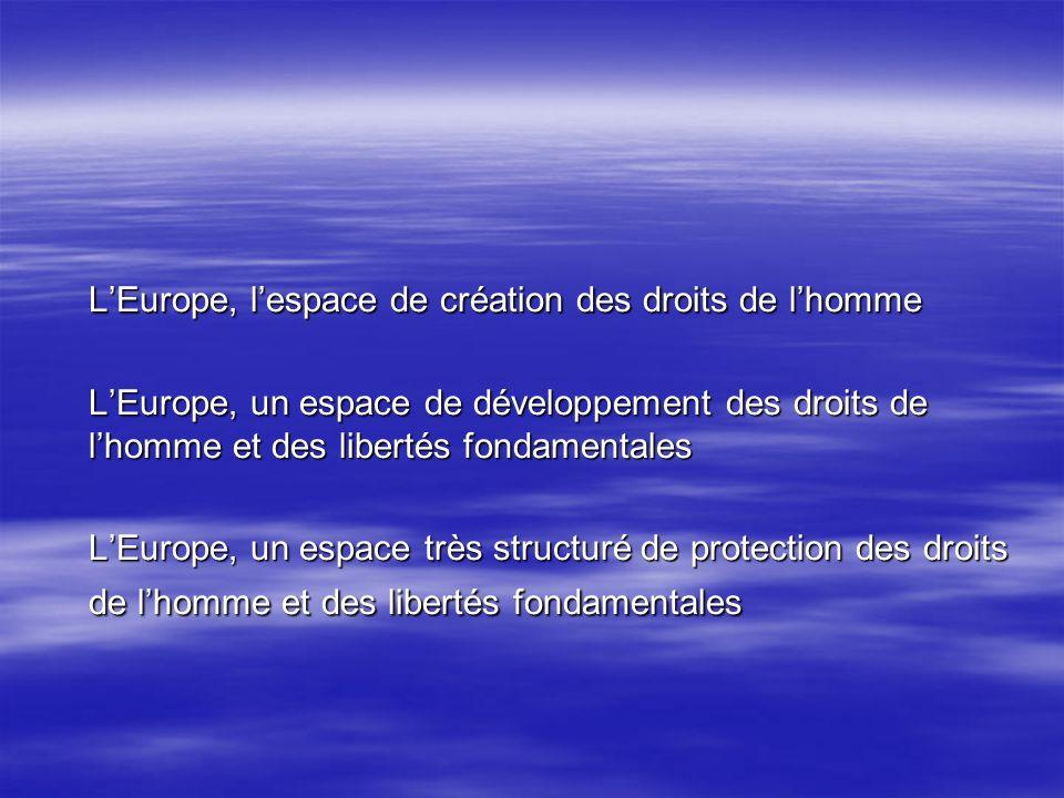 LEurope, lespace de création des droits de lhomme LEurope, un espace de développement des droits de lhomme et des libertés fondamentales LEurope, un espace très structuré de protection des droits de lhomme et des libertés fondamentales
