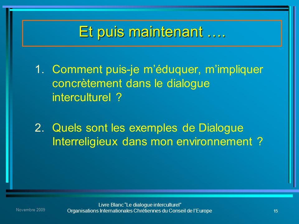 15 Livre Blanc Le dialogue interculturel Organisations Internationales Chrétiennes du Conseil de lEurope Novembre 2009 Et puis maintenant …. 1. Commen