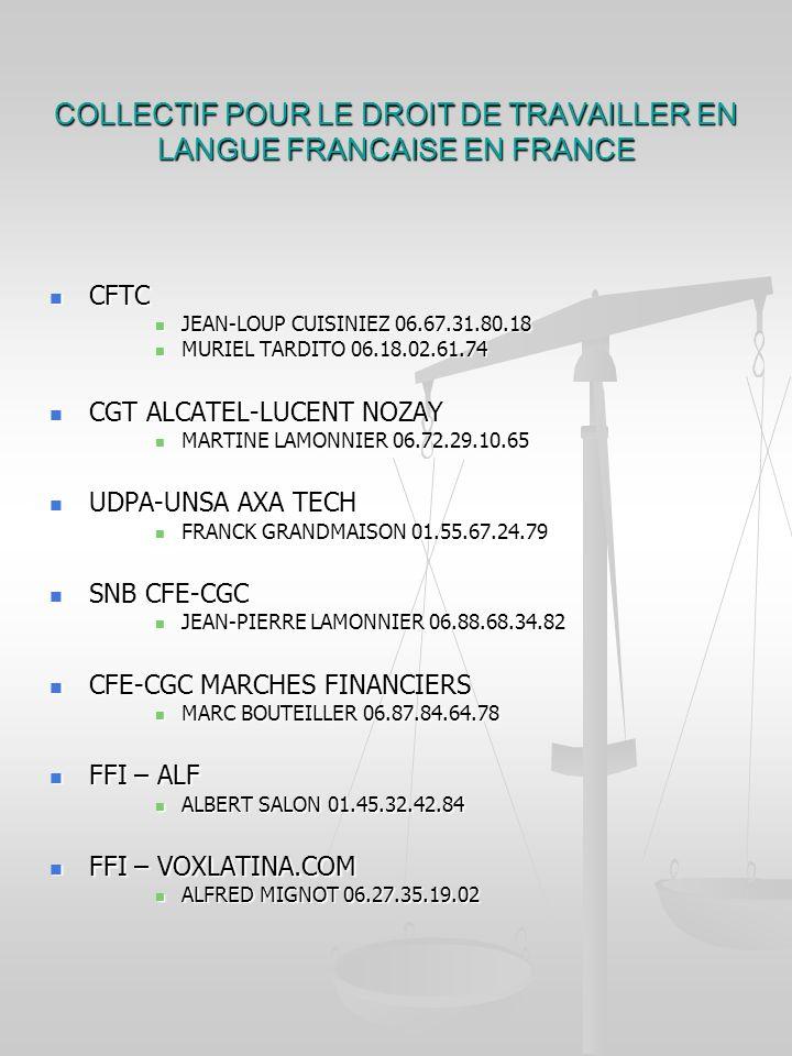 COLLECTIF POUR LE DROIT DE TRAVAILLER EN LANGUE FRANCAISE EN FRANCE CFTC CFTC JEAN-LOUP CUISINIEZ 06.67.31.80.18 JEAN-LOUP CUISINIEZ 06.67.31.80.18 MURIEL TARDITO 06.18.02.61.74 MURIEL TARDITO 06.18.02.61.74 CGT ALCATEL-LUCENT NOZAY CGT ALCATEL-LUCENT NOZAY MARTINE LAMONNIER 06.72.29.10.65 MARTINE LAMONNIER 06.72.29.10.65 UDPA-UNSA AXA TECH UDPA-UNSA AXA TECH FRANCK GRANDMAISON 01.55.67.24.79 FRANCK GRANDMAISON 01.55.67.24.79 SNB CFE-CGC SNB CFE-CGC JEAN-PIERRE LAMONNIER 06.88.68.34.82 JEAN-PIERRE LAMONNIER 06.88.68.34.82 CFE-CGC MARCHES FINANCIERS CFE-CGC MARCHES FINANCIERS MARC BOUTEILLER 06.87.84.64.78 MARC BOUTEILLER 06.87.84.64.78 FFI – ALF FFI – ALF ALBERT SALON 01.45.32.42.84 ALBERT SALON 01.45.32.42.84 FFI – VOXLATINA.COM FFI – VOXLATINA.COM ALFRED MIGNOT 06.27.35.19.02 ALFRED MIGNOT 06.27.35.19.02