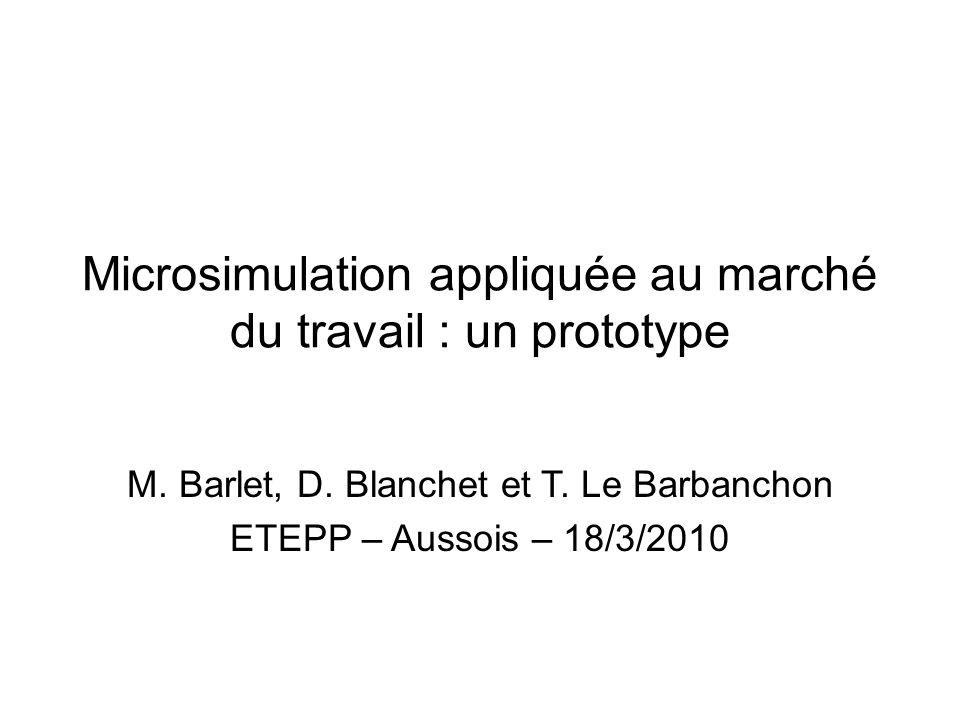 Microsimulation appliquée au marché du travail : un prototype M. Barlet, D. Blanchet et T. Le Barbanchon ETEPP – Aussois – 18/3/2010