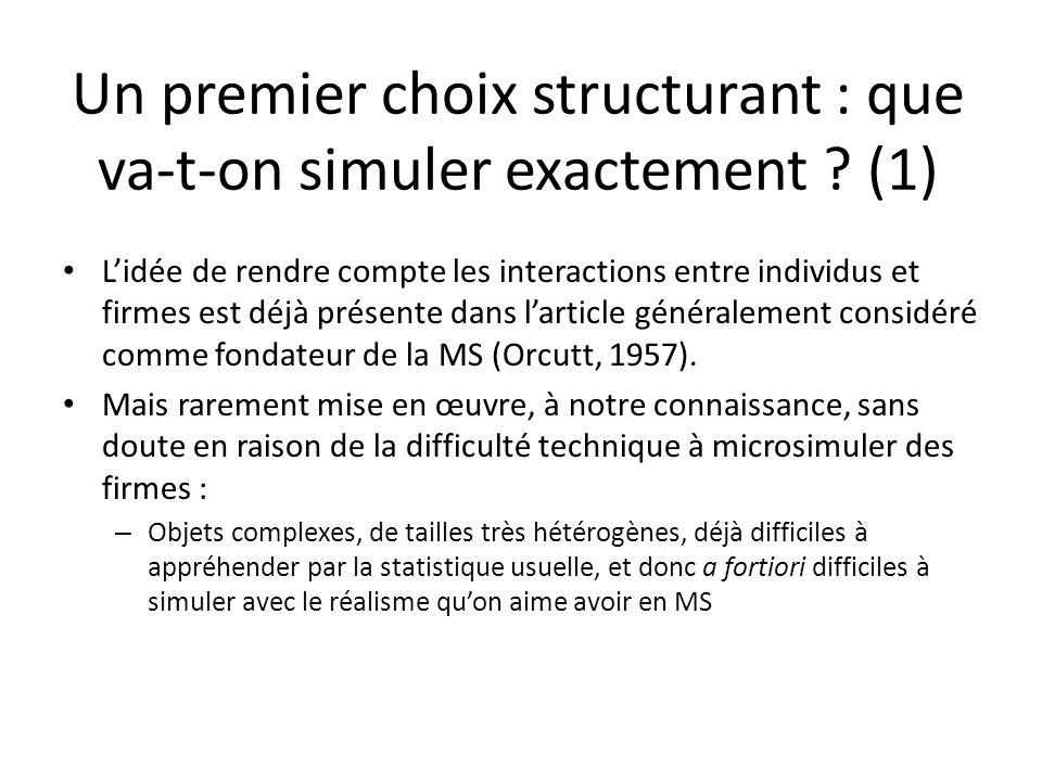 Un premier choix structurant : que va-t-on simuler exactement ? (1) Lidée de rendre compte les interactions entre individus et firmes est déjà présent
