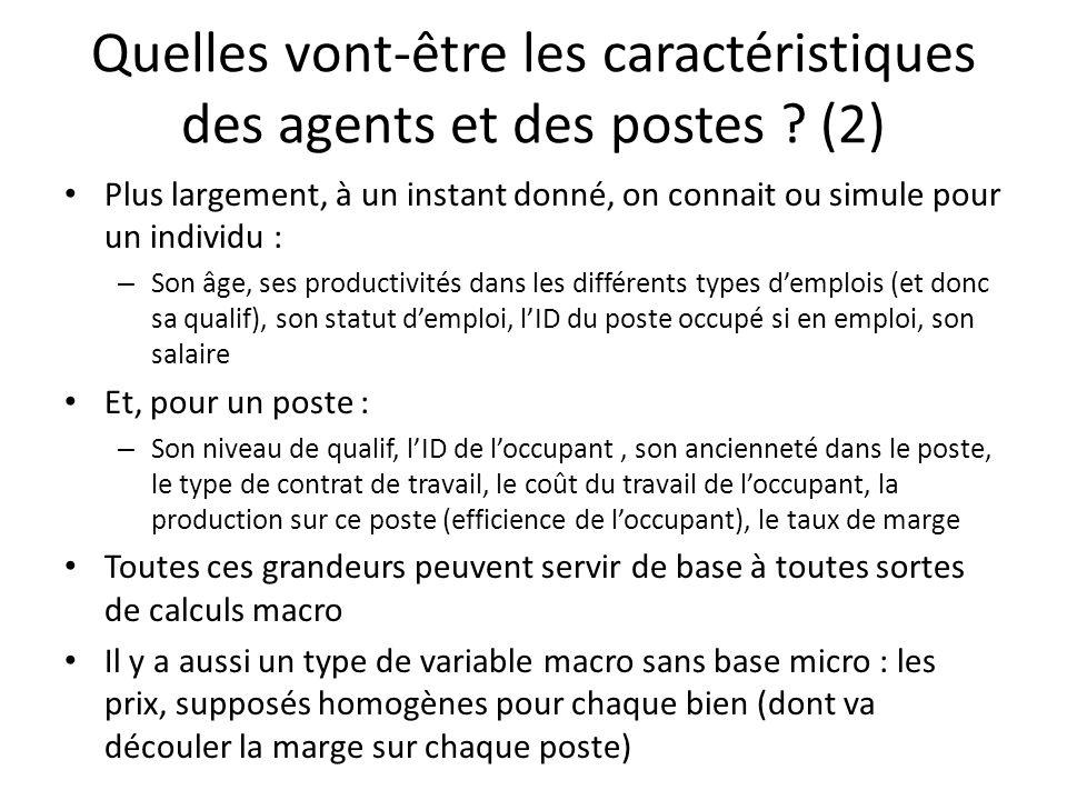 Quelles vont-être les caractéristiques des agents et des postes ? (2) Plus largement, à un instant donné, on connait ou simule pour un individu : – So