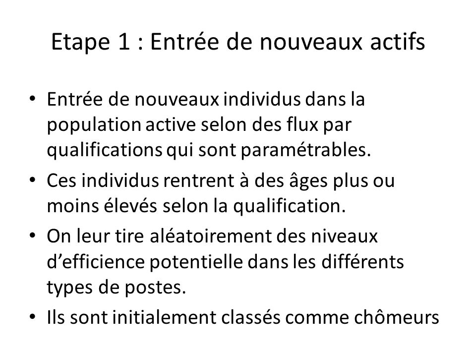 Etape 1 : Entrée de nouveaux actifs Entrée de nouveaux individus dans la population active selon des flux par qualifications qui sont paramétrables. C