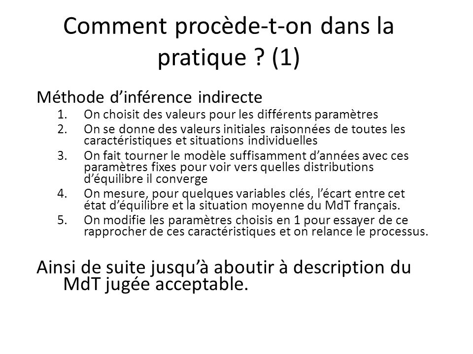 Comment procède-t-on dans la pratique ? (1) Méthode dinférence indirecte 1.On choisit des valeurs pour les différents paramètres 2.On se donne des val