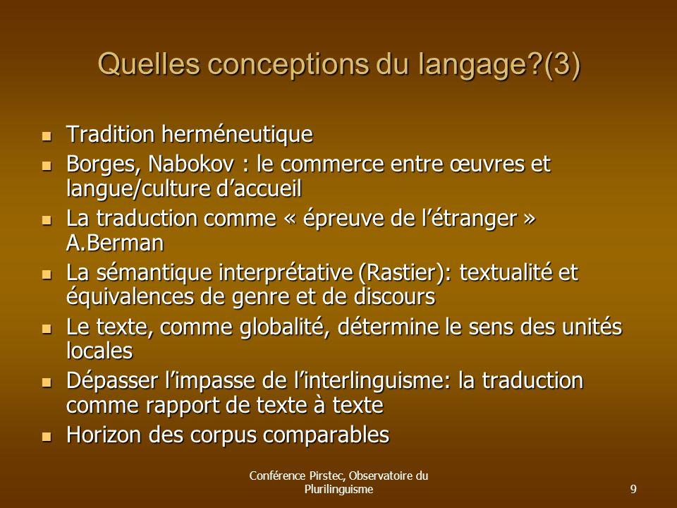 Conférence Pirstec, Observatoire du Plurilinguisme9 Quelles conceptions du langage?(3) Tradition herméneutique Tradition herméneutique Borges, Nabokov