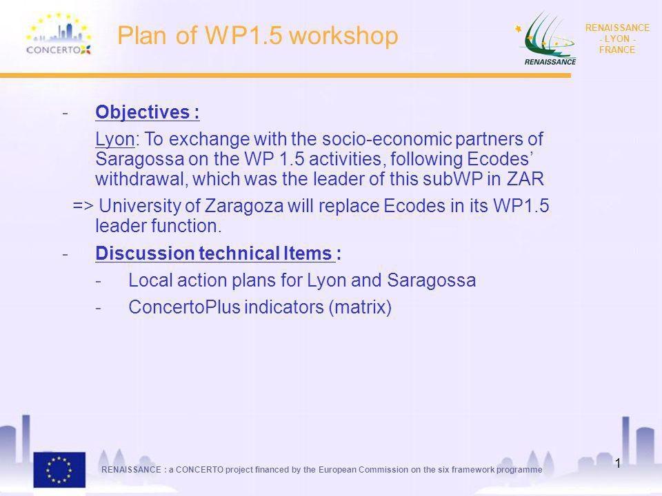 RENAISSANCE : a CONCERTO project financed by the European Commission on the six framework programme RENAISSANCE - LYON - FRANCE 1 Plan of WP1.5 workshop -Objectives : Lyon: To exchange with the socio-economic partners of Saragossa on the WP 1.5 activities, following Ecodes withdrawal, which was the leader of this subWP in ZAR => University of Zaragoza will replace Ecodes in its WP1.5 leader function.